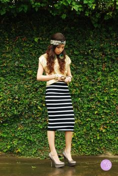 Turban, long striped midi skirt