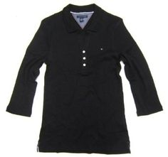 Women's Tommy Hilfiger 3/4- Length Sleeve Collared Shirt in Solid Black (X-Large / XL) Tommy Hilfiger. $39.99