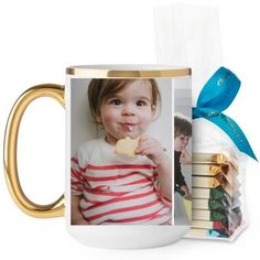Gallery of Three Mug, Gold Handle, with Ghirardelli Assorted Squares, 15 oz