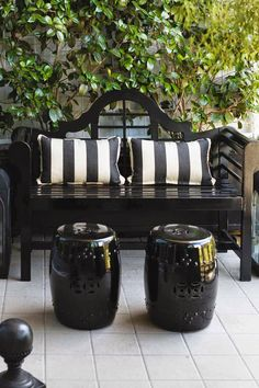 Black Bench with Black & White Striped Pillows