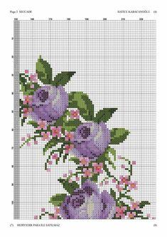Cross Stitch Rose, Cross Stitch Borders, Cross Stitch Flowers, Counted Cross Stitch Patterns, Cross Stitching, Cross Stitch Embroidery, Embroidery Patterns, Purple Roses, Blackwork