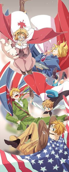 Tags: Fanart, Axis Powers: Hetalia, France, United States, United Kingdom, Sealand, Pixiv, Kumajirou, Allied Forces, Runko