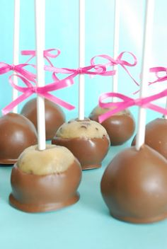 Chocolate Chip Cookie Dough Truffles (on a stick) - Cynthia's Healthy Recipes