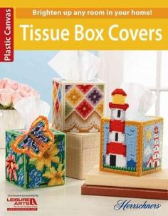 6077 Tissue Box Covers PC Celebrate your love for plastic canvas with these eight sweet and stunning tissue box covers -- from an adorable kitty, bright lighthouses, and festive snowbabies to a pretty