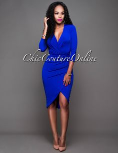 Chic Couture Online - Rosalie Royal-Blue Draped Long Sleeves Dress.(http://www.chiccoutureonline.com/rosalie-royal-blue-draped-long-sleeves-dress/)