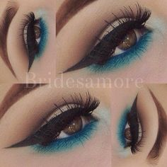 Amazing ♥ Blue Eye Makeup, Turquoise Eye Makeup, Nyx Makeup, Skin Makeup, Makeup Goals, Makeup Tips, Beauty Makeup, Makeup Ideas, Makeup Hacks