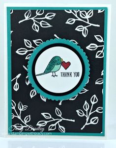 This card was created using the stamp set Bird Banter from Stampin' Up! & Petal Passion Designer Series Paper. Created by Tracy Bradley www.stampingwithtracy.com