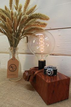 Great Gift for Photography buff DADs - Real 1950's Spy Camera Touch Lamp!  Vintage Micro Camera Edison Lamp on Beautiful Eucalyptus Wood;
