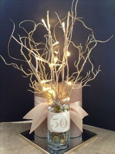 60th Birthday Table Decorations Ideas 60th birthday party centerpiece in black and gold Find This Pin And More On Cynthias Event Pictureideas Anniversary Centerpiece