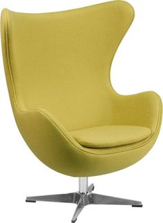 Citron Wool Fabric Egg Chair with Tilt-Lock Mechanism. This retro style chair will become everyone's favorite chair whether it is used in the home or office. The Egg Chair can be used in the home, but will add a distinguished look to your office or lobby for guest seating. The design of this chair is a classic mid-20th century design that will conform in any era. This chair features a tilt lock mechanism that offers a comfortable rocking/reclining motion. Chair rotates 360 degrees to provide…