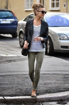 I have pretty much all of this! Stripe t, crop leather jacket, cargos and ballet flats. (Could also work with mint jeans)