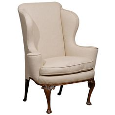 18th Century English Queen Anne Walnut Wing Chair with Shell Carving | From a unique collection of antique and modern wingback chairs at https://www.1stdibs.com/furniture/seating/wingback-chairs/