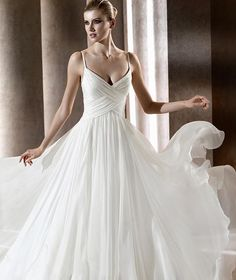 Empire Spaghetti Straps Sweep Train Chiffon Wedding Dress with Ruffles at Msdressy