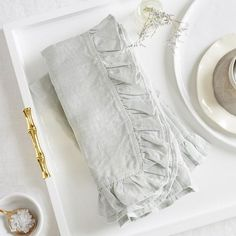 The Ruffled Seafoam Napkins are big, bold and an eye-catching accouterment. Grace your tabletop with these gorgeous 100% linen napkins.