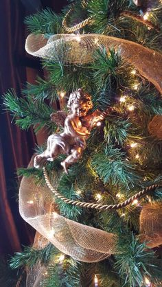 Gold Angels on tree with gold tassel rope and gold mesh ribbon.