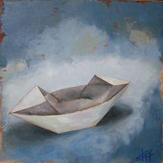 "Origami Boat by Andie Freeman Oil ~ 20"" x 20"""
