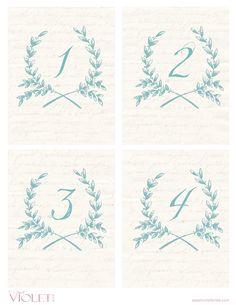 Free Printables - Blue Wreath Table Numbers