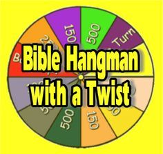 "Wouldn't it be fun to be on the TV game show ""Wheel of Fortune""? Why not give your Sunday School class a little taste of what it would be like by playing ""Bible Hangman with a Twist""… Bible Activities For Kids, Bible Study For Kids, Bible Lessons For Kids, Church Activities, Kids Church Games, Kids Bible, Bible Games For Youth, Youth Lessons, Toddler Bible"