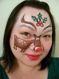 reindeer face painting www.schminkenisleuk.nl kerst
