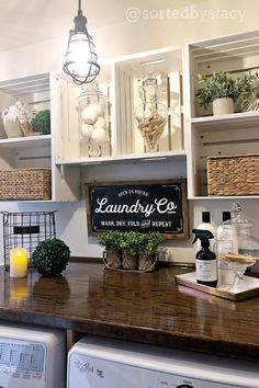 Farmhouse Laundry Room Organization Ideas - Doing laundry would be a really easy chore - if all of your family's clothes were the same. Farmhouse Diy, Laundry Room Decor, Farmhouse Laundry, Farm House Living Room, Rustic House, Laundry Closet, Sweet Home, Crate Shelves, Room Makeover
