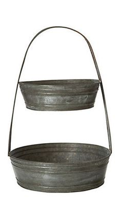 Tiered Tin Basket - traditional - food containers and storage - Terrain Tiered Fruit Basket, Fruit Holder, Fruit Centerpieces, Galvanized Metal, Galvanized Buckets, Affordable Home Decor, Food Containers, Kitchen Accessories, Farmhouse Decor