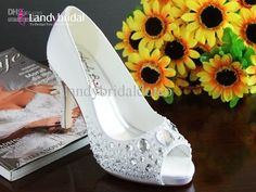 Wholesale Landybridal Wedding Shoes Bridesmaid Party Shoes Accessory White 10cm Heel 1.5cm Platform asld0009, Free shipping, $115.36-133.28/Piece | DHgate