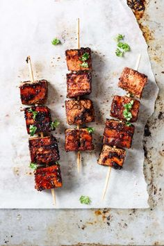 Spicy cajun and orange grilled tofu skewers. Full of flavour, sticky and spicy. These tofu skewers are a perfect meat free alternative. Simple, tasty and addictive. Tofu Recipes, Vegan Dinner Recipes, Vegan Snacks, Vegan Dinners, Pudding Recipes, Healthy Dinners, Vegan Gluten Free, Vegan Vegetarian, Vegetarian Recipes
