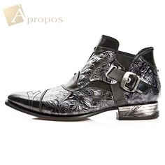 Stiefeletten 3cm Luxus Elegant Extravagant Custom Herren Vintage Schwarz Apropos