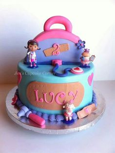 Doc McStuffins cake for Grace's birthday! Hopefully it turns out looking… Doc Mcstuffins Cake, Doc Mcstuffins Birthday Party, Birthday Fun, Birthday Parties, Birthday Cake, Birthday Ideas, Character Cakes, Disney Cakes, Novelty Cakes