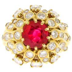 VAN CLEEF & ARPELS Natural Burmese Ruby Diamond Ring, Circa 1960