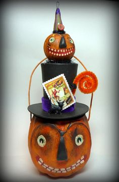 DOUBLE JACK Vintage Inspired Halloween Pumpkin Jack Top Hat Candy Container Folk Art Holiday Decoration on Etsy, $62.00