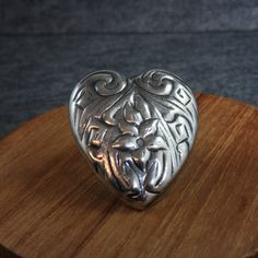 Vintage, Sterling Silver, Heart, Pin, Floral design, flower, Mexico, TN-49, puffy by BonfireStudio on Etsy
