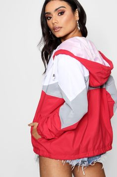 Womens Hooded Panelled Windbreaker - Red - S Swag Outfits For Girls, Cute Teen Outfits, Girl Outfits, Cute Windbreakers, Samoan Dress, Windbreaker Outfit, Leggings Store, Plastic Raincoat, 80s Outfit