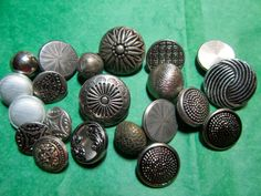 """20 - 3/8"""" -3/4""""  DECORATIVE SILVER TONE METAL SHANK BUTTONS - ASSORTED Lot#L35"""