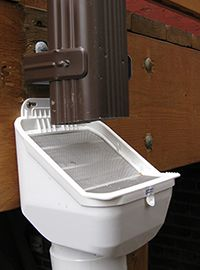 LeafEater downspout filter by RainHarvesting of Australia. Available with a 3 or 4 inches round outlet. Available on Aquabarrel.com