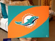 Canvas with Miami dolphins new logo
