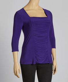 Take a look at this Purple Three-Quarter Sleeve Top - Plus by American City Wear on #zulily today! $12 !!