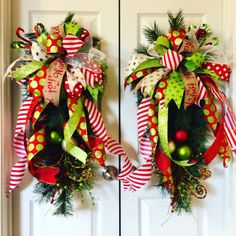 Christmas Wreath Christmas Swags Christmas Door Swags Christmas Double Door Swags Holiday Wreaths Holiday Door Swags Custom Made to Order by ItsintheDetailsAMY on Etsy https://www.etsy.com/listing/474084482/christmas-wreath-christmas-swags