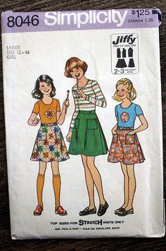 1977 Simplicity # 8046 Jiffy sewing pattern #supplies @EtsyMktgTool #70spattern #70sskirt #70ssimplicity #simplicity8046 #large12-14girls