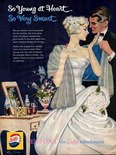 Original, vintage Pepsi-Cola advertisement from January 1959 - So Young at Heart, So Very Smart
