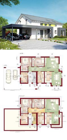 Zweifamilienhaus modern mit Satteldach und Carport - Haus Grundriss Celebration 211 V4 Bien Zenker Fertighaus - HausbauDirekt.de