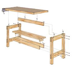Técnicas de marcenaria: Bancada para marceneiro Workbench Plans, Woodworking Workbench, Woodworking Workshop, Wood Furniture, Furniture Design, Wooden Staff, Diy Bench, Wood Plans, Easy Woodworking Projects