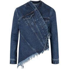 Womens Casual Jackets MARQUES'ALMEIDA Decon Blue Asymmetric Denim... ($510) ❤ liked on Polyvore featuring outerwear, jackets, asymmetrical denim jacket, cotton jean jacket, denim jacket, blue jean jacket and blue denim jacket
