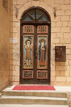 Wood carved doors at St. Anthony's Monastery in the Red Sea Mountains in Egypt.