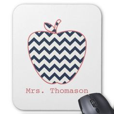 Navy Chevron & Coral Teacher Apple Mouse Pad from The Pink Schoolhouse