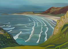 Anna Dillon - The Isle of Colour Series - Rhossili Bay. This is the classic view as seen from Rhossili village on the south-western tip of the Gower Peninsula in Swansea, Wales. Abstract Landscape, Landscape Paintings, Watercolor Paintings, Portrait Paintings, Acrylic Paintings, Art Paintings, Art Plastique, Painting & Drawing, Painting Abstract