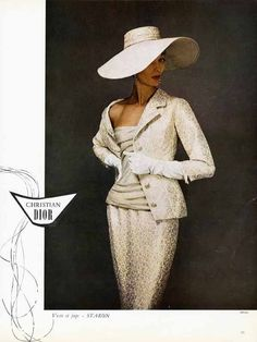 CHRISTIAN DIOR Fashion Page Ad - 1955 - Gorgeous Suit & Big Hat Paper Ad FRENCH