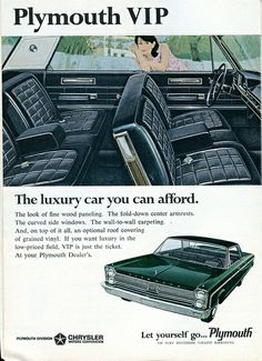 1966 Chrysler Plymouth VIP Advertisement Readers Digest January 1966