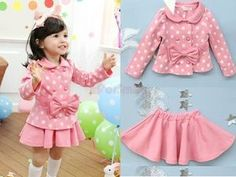 Girls Toddler Dress Polka Dots Bow Coat Top Skirt Kids Clothes Sets Outfit 5 6 Y | Ebay - Click for More...