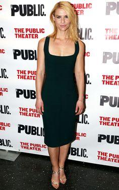 Claire Danes in a black Narciso Rodriguez midi dress